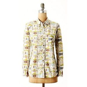 Odille Anthro button up collared dress shirt